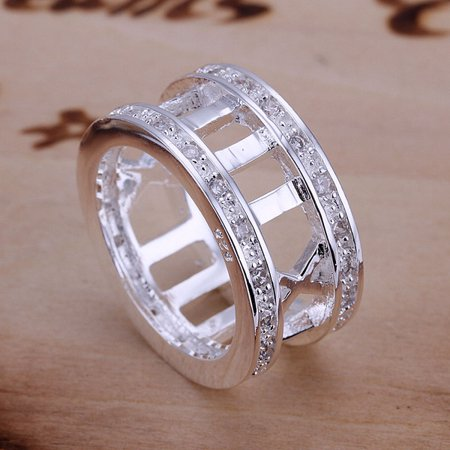 - Generic Fashion Silver plated Roman Numeral Band Ring Size 8 inlaid Zircon