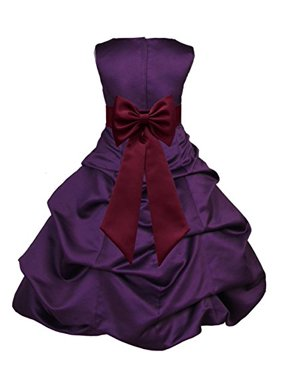 02b983a41f3 Product Image Ekidsbridal Purple Satin Pick-Up Bubble Flower Girl Dresses  Pageant Wedding Formal Special Occasions Dresses