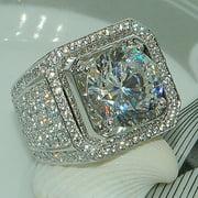 Fashion Men's Full Diamond Micro-inlaid Zircon Finger Ring