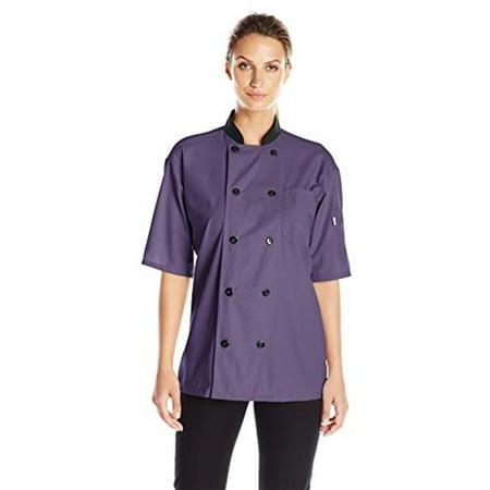 vtex 0494-5306 uncommon threads womens havana chef coat ss mesh, eggplant - (Ladies Chef Coats)