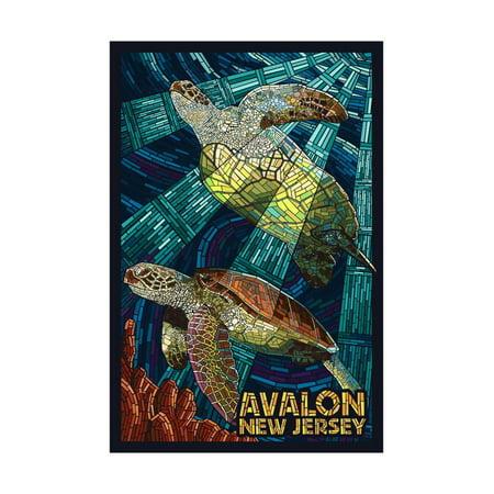Avalon, New Jersey - Sea Turtle - Mosaic Print Wall Art By Lantern Press - Mosaic Turtle