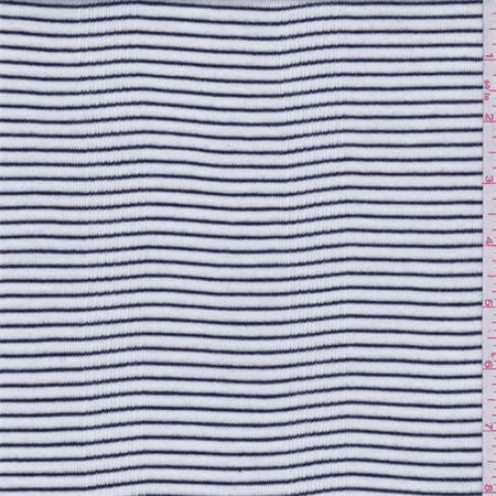 White/Black Stripe Cotton Rib Knit, Fabric Sold By the