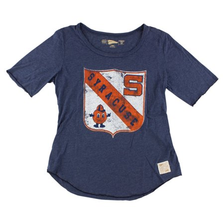 Distant Replays Womens Syracuse Orange College Rounded Bottom T Shirt Navy Blue
