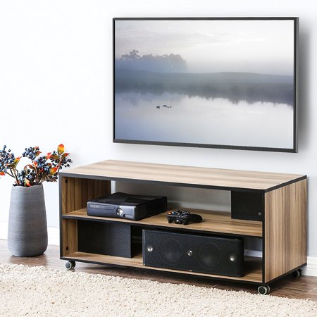 Fitueyes Wood Tv Stand Storage Console With Wheels For 23 To 50 Inch Bts310601wbf
