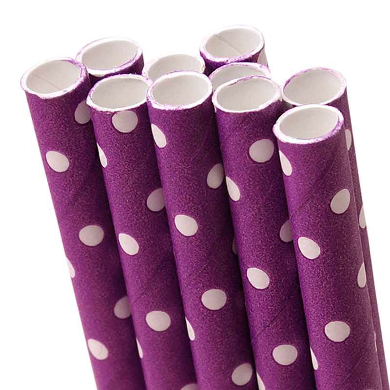 10 ct. Purple Polka Dot Paper Straw | Quantity: 10 | Length - 7 3/4"
