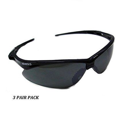 3 PAIR JACKSON NEMESIS 3000356 SAFETY GLASSES BLACK SMOKE MIRROR LENS (Badass Safety Glasses)