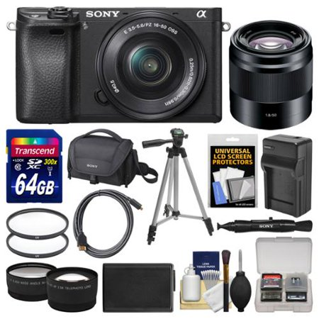 Sony Alpha A6300 4K Wi-Fi Digital Camera & 16-50mm with 50mm f/1.8 Lens + 64GB Card + Case + Battery & Charger + Tripod + Filters + Kit