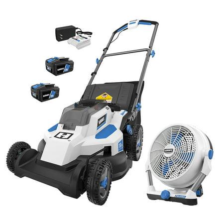 HART 20-Volt Hybrid Fan and Hart 20-Volt 16-Inch Push Lawn Mower (2) 20-Volt 4.0Ah Lithium-Ion Batteries