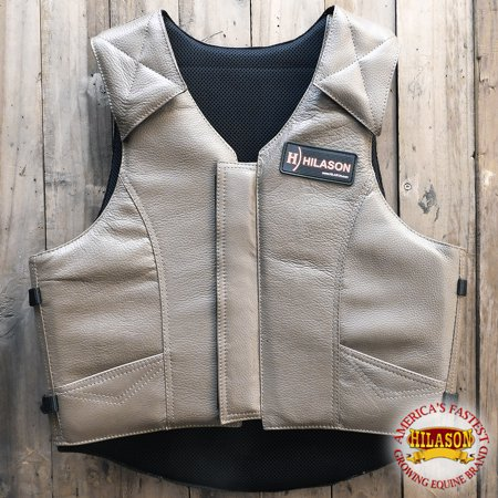 - Large Hilason Leather Pro Rodeo Horse Riding Protective Vest Grey