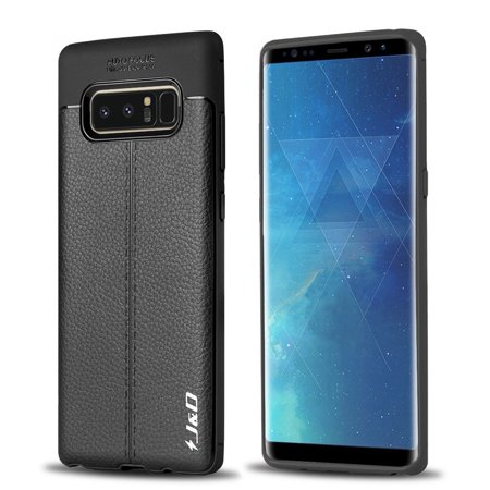 Galaxy Note 8 Case, J&D [Lightweight Bumper] [Anti-Scratch] [Leather Texture Pattern] Shock Resistant Protective Rubber Silicone TPU Slim Case for Samsung Galaxy Note 8 - Black