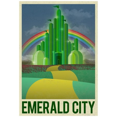 Emerald City Vintage (Emerald City Retro Travel Poster Fantasy Movie Travel Advertisement Poster Wall Art)