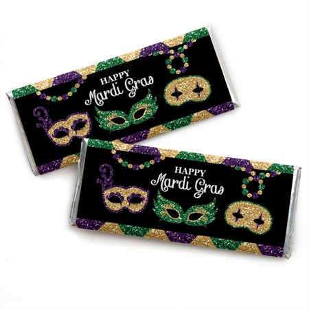 Mardi Gras - Candy Bar Wrapper Masquerade Party Favors - Set of 24 - Mardi Gras Decorations Clearance