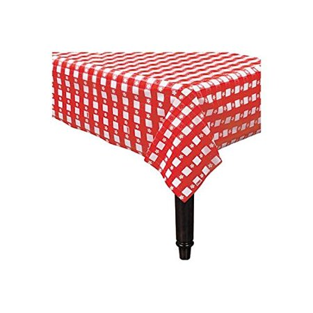 Amscan Reusable Heavy Duty Plastic Table Cover in Gingham Check Print Fits 8' Long Tables, 54 x 108