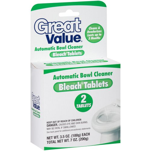 Great Value Automatic Toilet Bowl Cleaner Bleach Tablets, 2 count