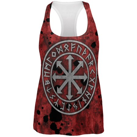 Viking Warrior Chaos Symbol All Over Womens Work Out Tank Top - Viking Woman
