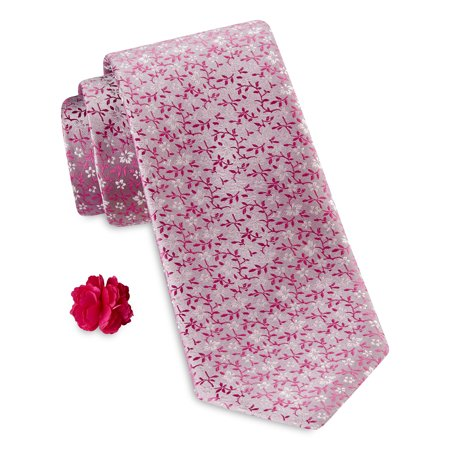 Men's Big & Tall Synrgy Mini Multi Floral Tie with Lapel Pin Combination