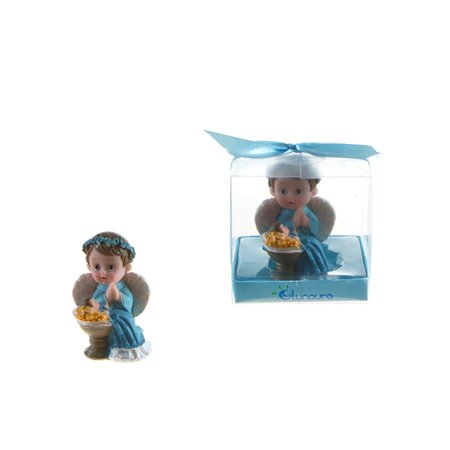 Baby Angel Praying Next to Infant Poly Resin - Blue Christening or Baby Shower Favor Case of 48