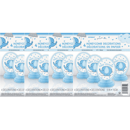 (4 Pack) Elephant Baby Shower Centerpiece Decorations, 6 in, Blue, 4ct - Roaring 20s Centerpieces