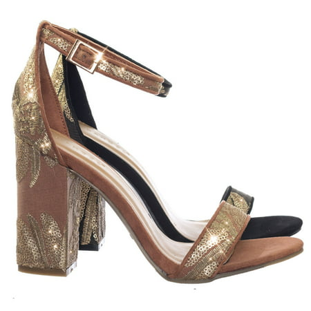 Influencer17 by Bamboo, Brocade Metallic Floral Embroidery Block High Heel Sandal