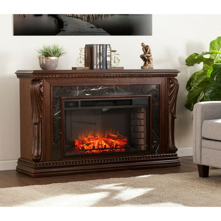 Stone Creek Carved Widescreen Fireplace w/ Natural Marble ()
