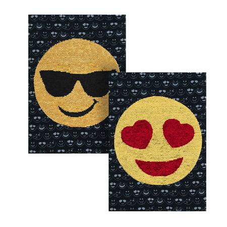 Emoji Heart Eye and Sunglass Eye Reversible Sequin Wall (Multi Glass Vanity Art)
