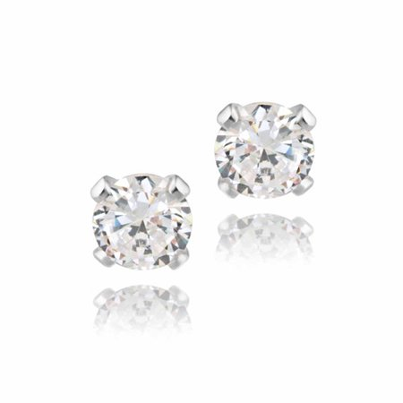 Silver Cat Earring (1/2 Carat T.G.W. CZ Sterling Silver Stud Earrings, 4mm)