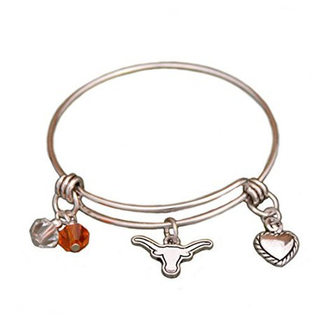 Silver Tone Wire Bracelet with Texas Longhorn Charm and Colors
