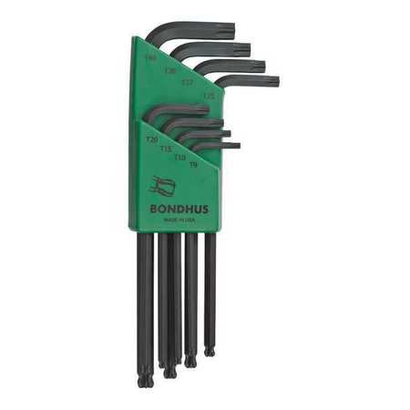 BONDHUS 11332 8 Pc Torx R Ball Star L Shaped Hex Key Set