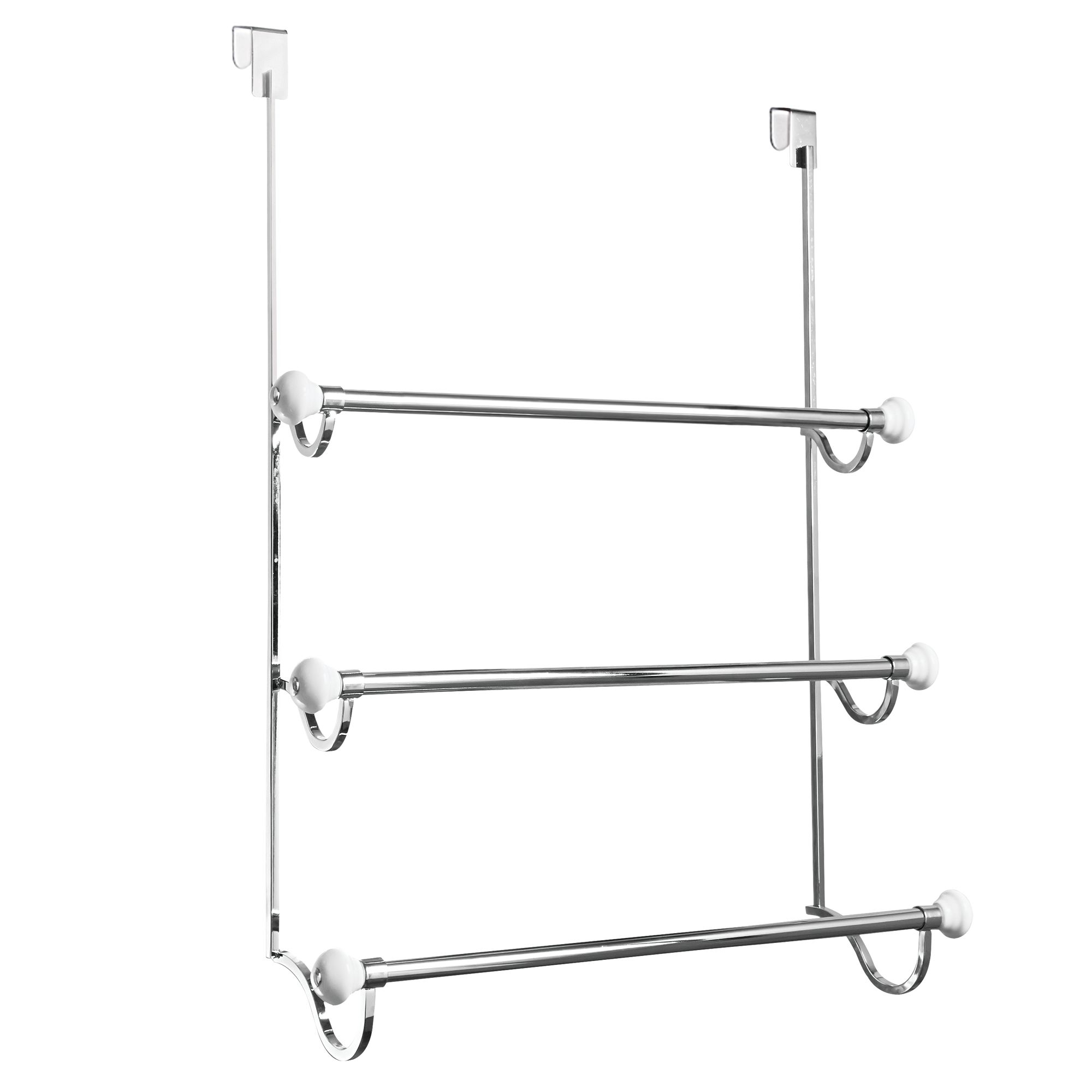 InterDesign York Over The Shower Door Towel Rack, White