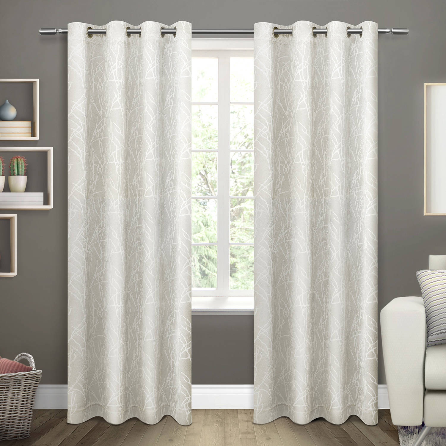 "Twig Insulated Woven Blackout Grommet Top Window Curtain Panels, Vanilla, Set of 2, 54"" x 84"""