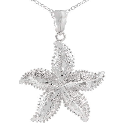 """Brinley Co. Sterling Silver Large Starfish Pendant, 18"""""""
