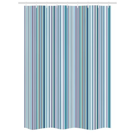 Striped Stall Shower Curtain Blue Purple Teal Aqua Lavender Colored Vertical Stripes Geometric Abstract Vintage