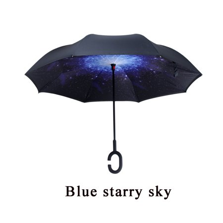 Grtxinshu Women Men C-Type Handle Umbrella Double Layer Hand-free Sun Umbrella Rain Protection Windproof Waterproof Folding Reversible Upside Down Inverted Self (Reversible Umbrella)
