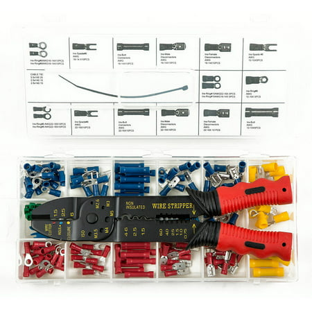Presa Solderless Copper Wire Terminal / Connection Set with Crimper / Wire Stripping Tool, 201 (Best Knife For Stripping Wire)