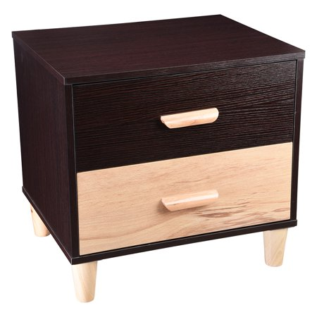 YesHom Wooden Bedroom Night Stand End Side Table with 2 Drawers Cabinet Storage Furniture Home Decoration Black 8 Drawer Black Side Cabinet