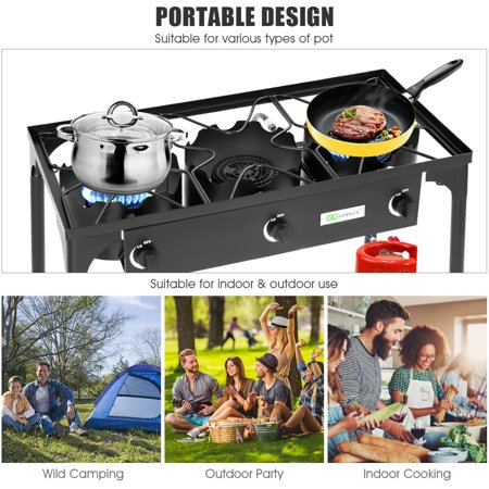 Portable Propane 225,000-BTU 3 Burner Gas Cooker Outdoor Camp Stove BBQ - image 8 of 10