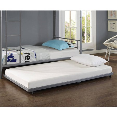 twin metal trundle bed silver. Black Bedroom Furniture Sets. Home Design Ideas