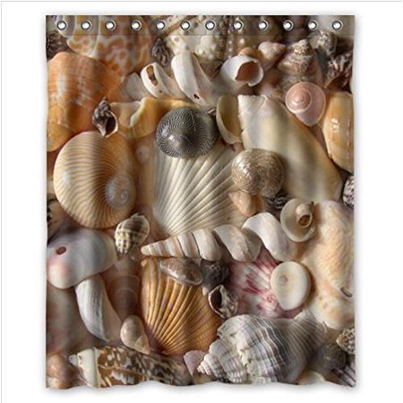GreenDecor Are You A Social Media Seashell? Colorful Seashells Waterproof Shower Curtain Set with Hooks Bathroom Accessories Size 60x72 inches (Seashell Shower Curtain)