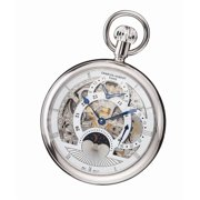 Charles-Hubert Paris Women's Stainless Steel Open Face Dual Time Mechanical Pocket Watch