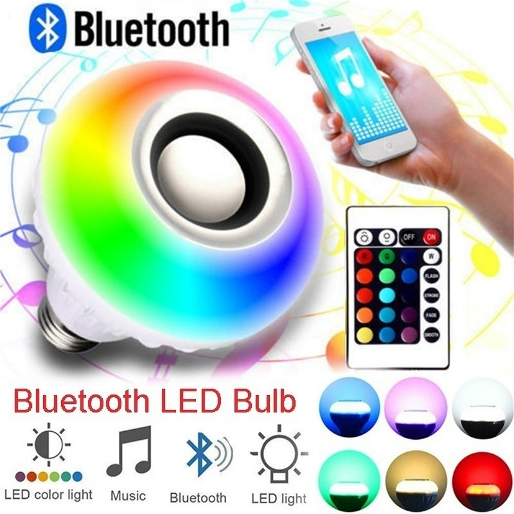 Bluetooth Speake Control Light Rippers Playing Lamp Remote Led Audio E27 With Smart Wireless Rgb 12w Bulb Music mONn08wyvP