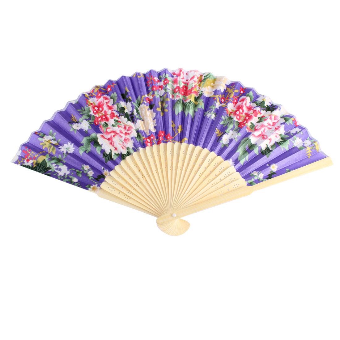 Orient Style Flower Pattern Bamboo Frame Wedding Party Folding Hand Fan Purple - image 3 de 3