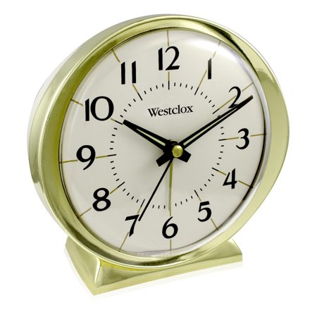 11605QA- Quartz Analog Westclox 1964 Alarm clock- Gold Tone Metal -