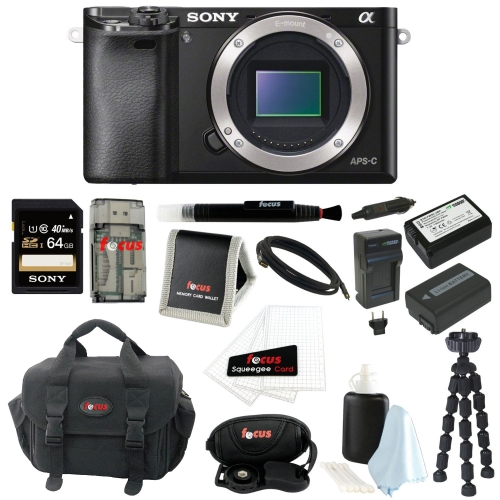 Sony a6000 W/ Camera Gadget Bag & 64GB SDHC Accessory Bundle