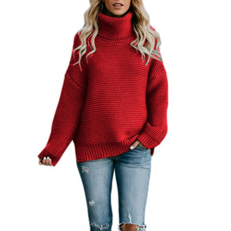 Neck Kit - Turtleneck Knitted Sweater Women Oversized Winter Pullover Polo Neck Jumper Thick Chunky Knit Outerwear Top Blouse