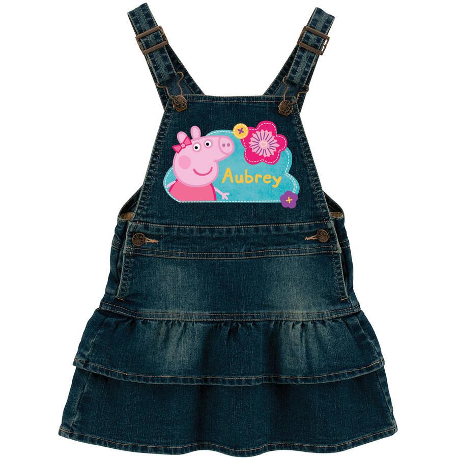 Personalized Peppa Pig Pretty Flowers Toddler Girl Denim Dress