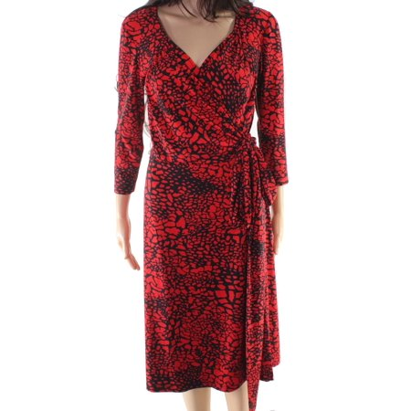 Women's Printed V-Neck Wrap Dress 4 - David Charles Dresses Sale