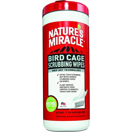 Nature's Miracle Bird Cage Scrubbing Wipes, 30-Count
