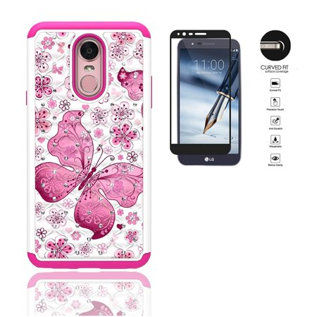 Phone Case for LG Stylo 4, LG Stylus 4, Studded Rhinestone Diamond Bling Cover Case + Tempered Glass Screen Protector (White-Pink Buttefly)