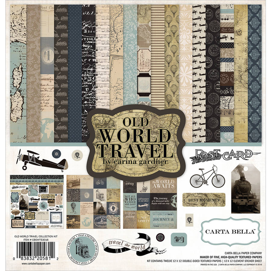 "Carta Bella Collection Kit, 12"" x 12"", Old World Travel"