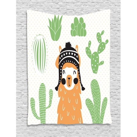 Llamas In Hats (Llama Tapestry, Llama in a Traditional Ethnic Bolivian Hat Smiling Comic on Polka Dots Illustration, Wall Hanging for Bedroom Living Room Dorm Decor, 40W X 60L Inches, Multicolor, by)